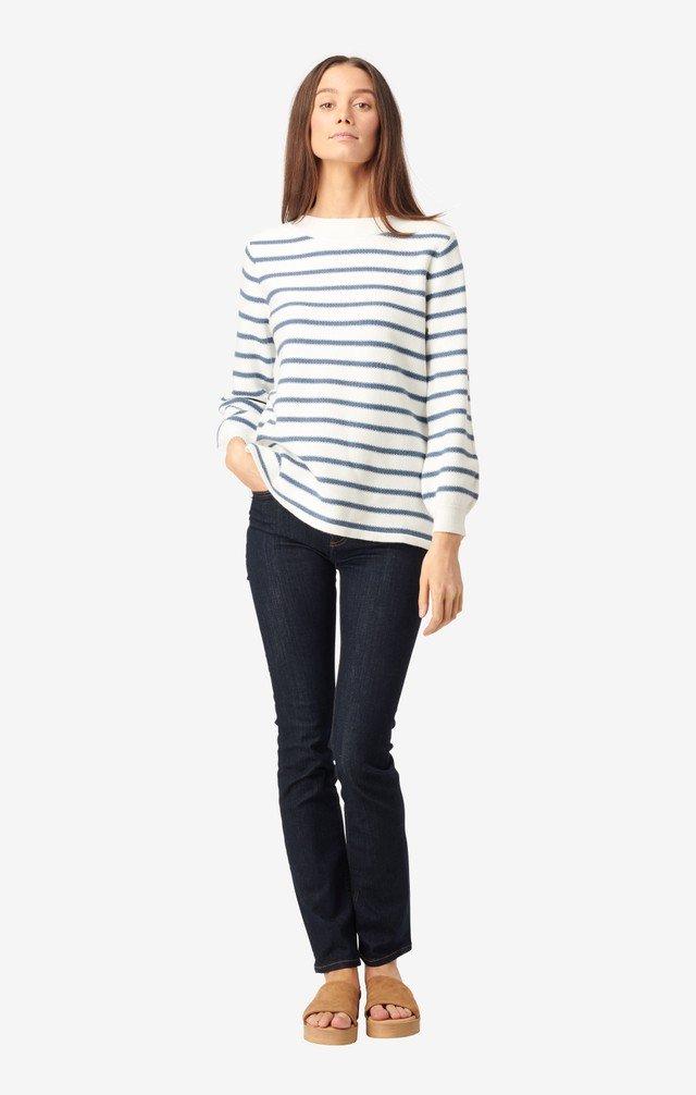 Boomerang Melissa Stripe Org.Cotton Sweater OffWhite