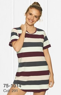 Lady Avenue Bamboo Bigshirt Wine Stripe