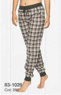 Lady Avenue Cotton Flannel Pant Wine Checks