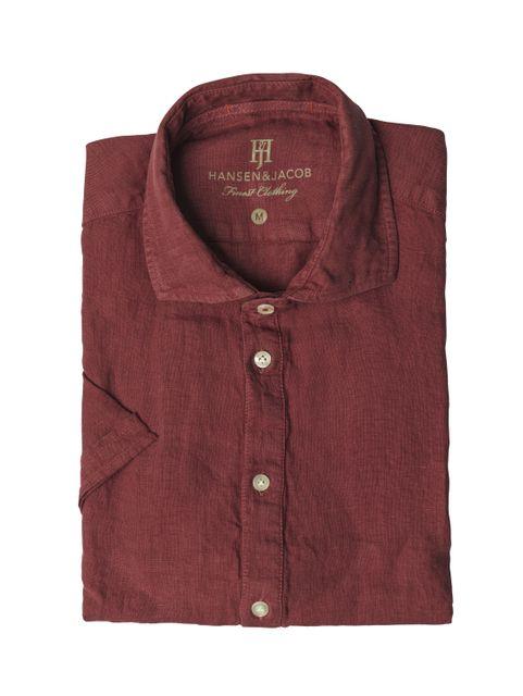 Hansen&Jacob Short Sleeve Linen Shirt Dark Red
