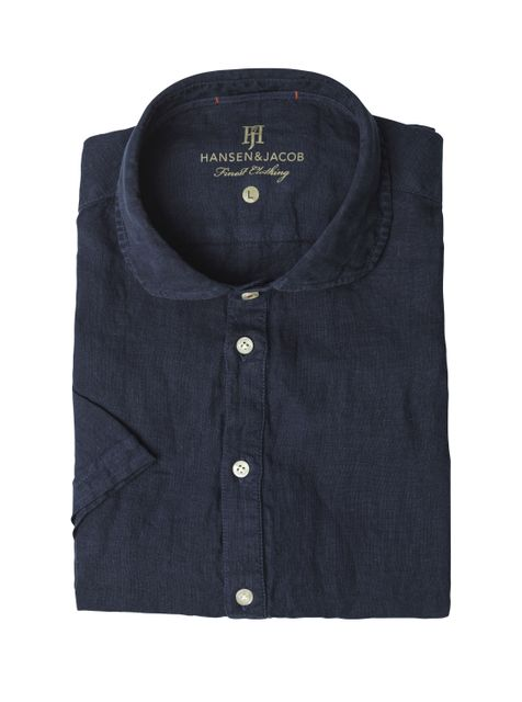 Hansen&Jacob Short Sleeve Linen Shirt Navy
