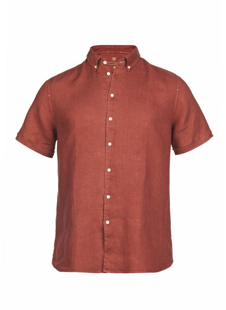 Hansen&Jacob Shirt Linen Short Sleeve Red