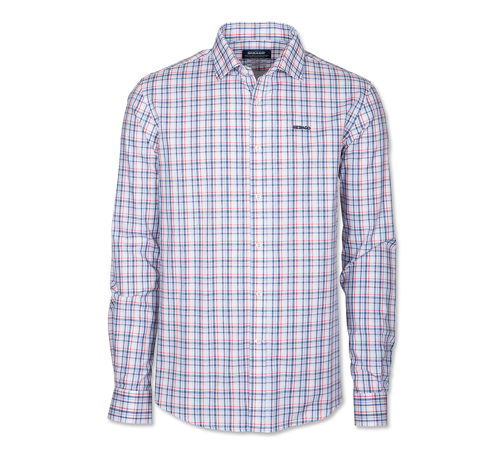 Sebago Pinpoint Check Shirt Navy/Paprika