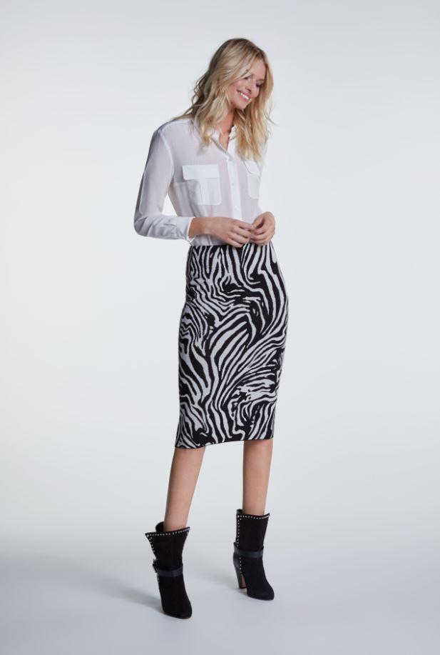 Oui Skirt Black/Grey