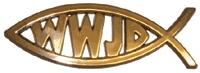 Fisk WWJD, guldfärgad