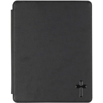 Ipadfodral, svart vinyl m. kors - passar iPad 2 & iPad 3 (måtten 9.5 x 7.31 x 0.34 & 9.5 x 7.31 x 0.37)
