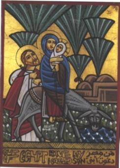 Flykten till Egypten, 21x15 cm, koptisk - motiv 1