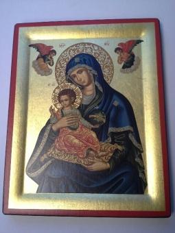 Den himmelska Madonnan 29x23 cm, blå mantel, förgylld