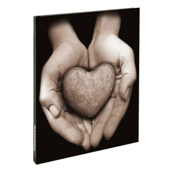 Hjärta i händer, blank 18x23cm