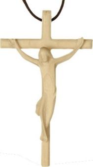 Krucifix, ljust trä 'enkelt', ca 5 cm, inkl. brun lädersnodd