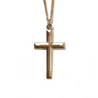 Kors, välvt, guldpläterat 38 mm, inkl kedja