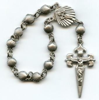 Jakobskors m. pilgrimsmusslor, silverfärgad metall