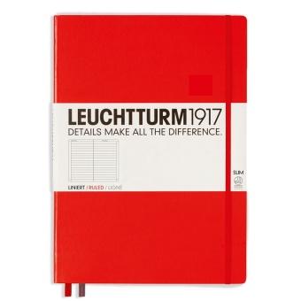 Linjerad, röd, A4, 121 sidor