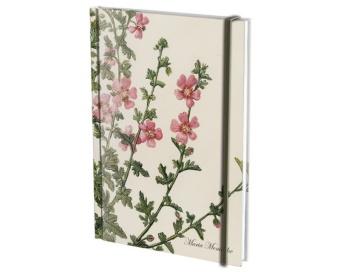 Rosa blommor, blank/linjerad A5, m. snodd