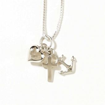 Tro, hopp, kärlek, silverpläterat, inkl. kedja