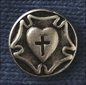 Luther-ros, pin, färg, ca 20 mm i diameter