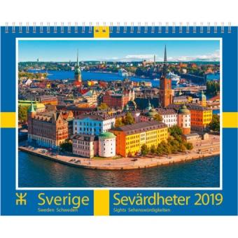Sverigekalendern 2019 sevärdheter - väggkalender m. presentförpackning