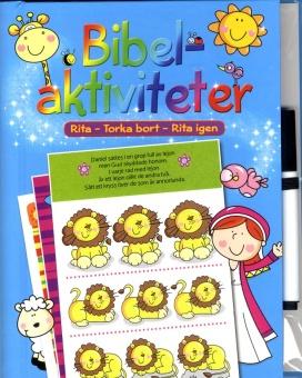 Bibelaktiviteter, inkl. penna - rita, torka bort, rita igen