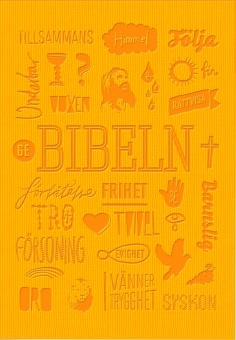 Bibel, konfirmandbibel, Gummi, Röd-Gul