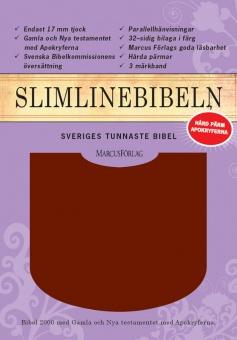 Bibel, slimline, hård röd cabrapärm, med apokryfer