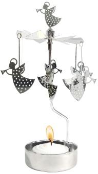 Änglaspel med ängel-motiv, silver, inkl. värmeljus