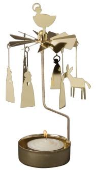 Änglaspel med julkrubb-motiv, guld, inkl. värmeljus