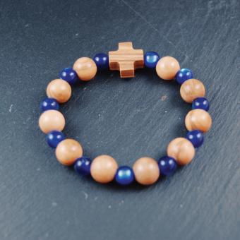 Rosenkrans, dubbeldekad pärlor i olivträ och blå glaspärlor