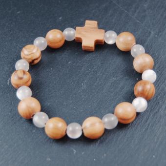 Rosenkrans, dubbeldekad pärlor i olivträ och vita glaspärlor