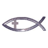 Fisk, 13cm med kors, silver