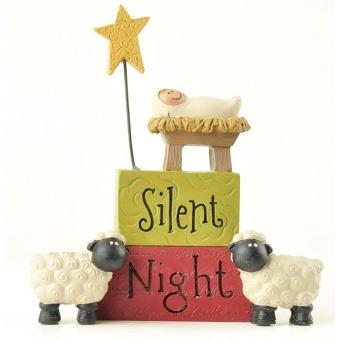Silent Night, m. barn i krubba, stjärna och får, 115 mm, resin