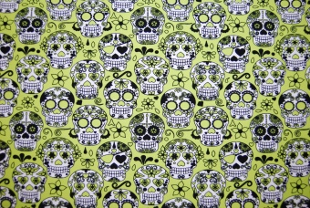 Flower skulls lime trikå