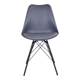 Oslo Dining Chair - Chair in grey with black legs