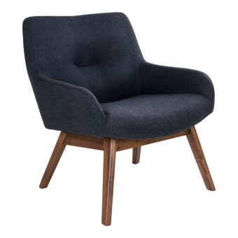 London Lounge Chair - London lounge stol i mörkgrå med valnötsben