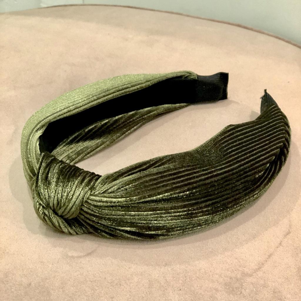 Black Colour Headband Sammet Grön