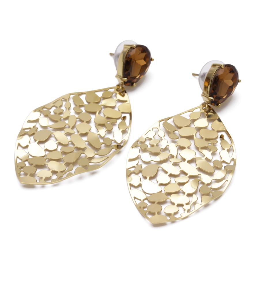 Bud To Rose Crystal Leaf Earring Gold