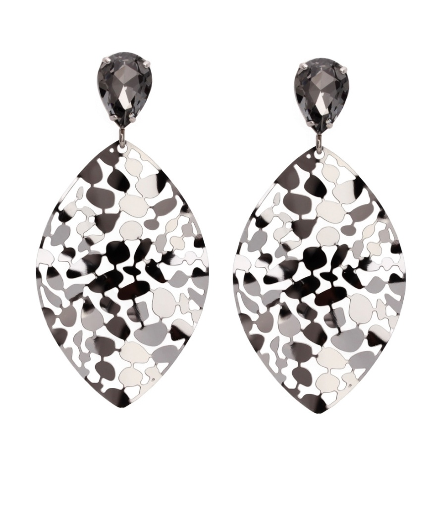 Bud To Rose Crystal Leaf Earring Steel