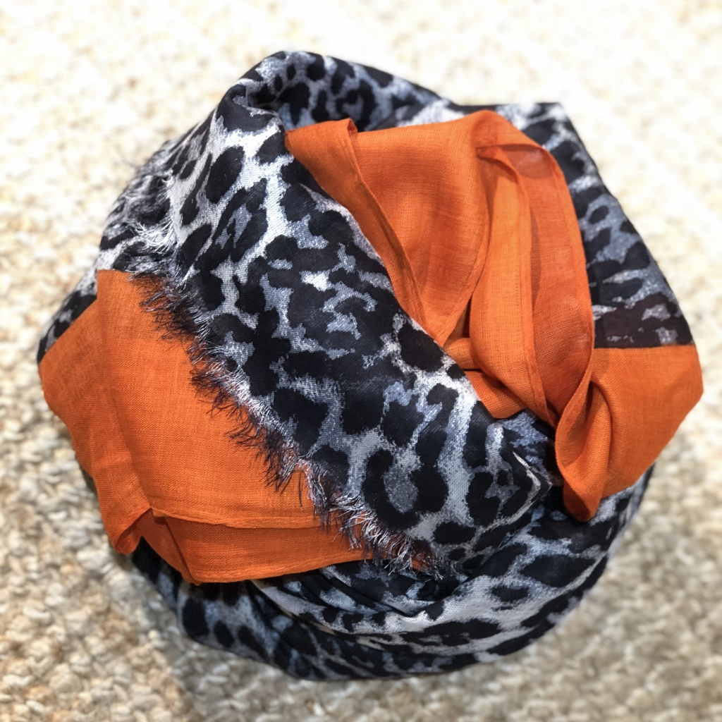 Black Colour Leo Scarf Orange