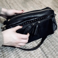 Black Colour Gold Zipped Bag