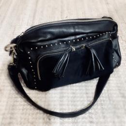 Black Colour Gold Zipped Bag
