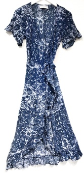 One Season Marbella Piper Frill Wrap Dress Navy