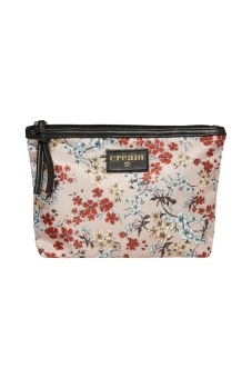 Cream Daimi Flower Makeup Bag