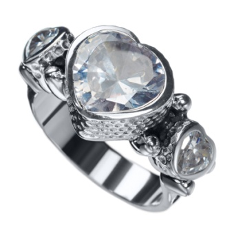 KumKum Heart Ring Zircon Silver