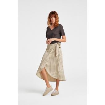 Yaya Long Pinstriped Wrap Skirt