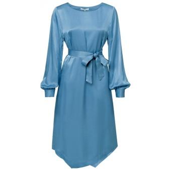 Yaya Long Belted Satin Dress