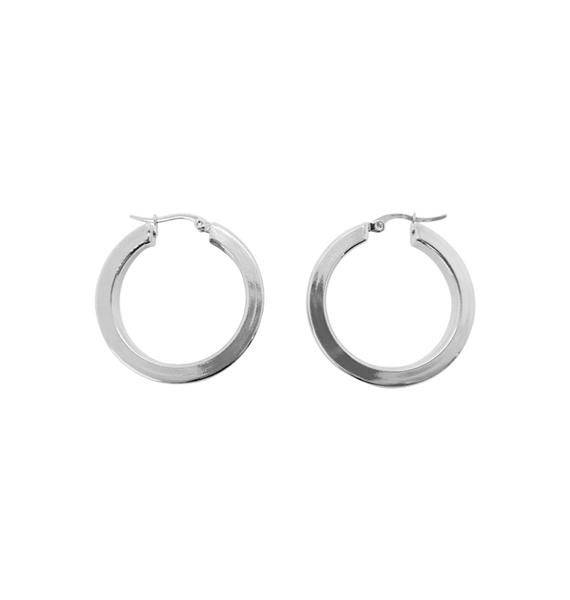 WOS Flat Silver Hoops