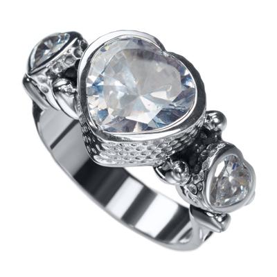 KumKum Heart Ring Zircon Silver