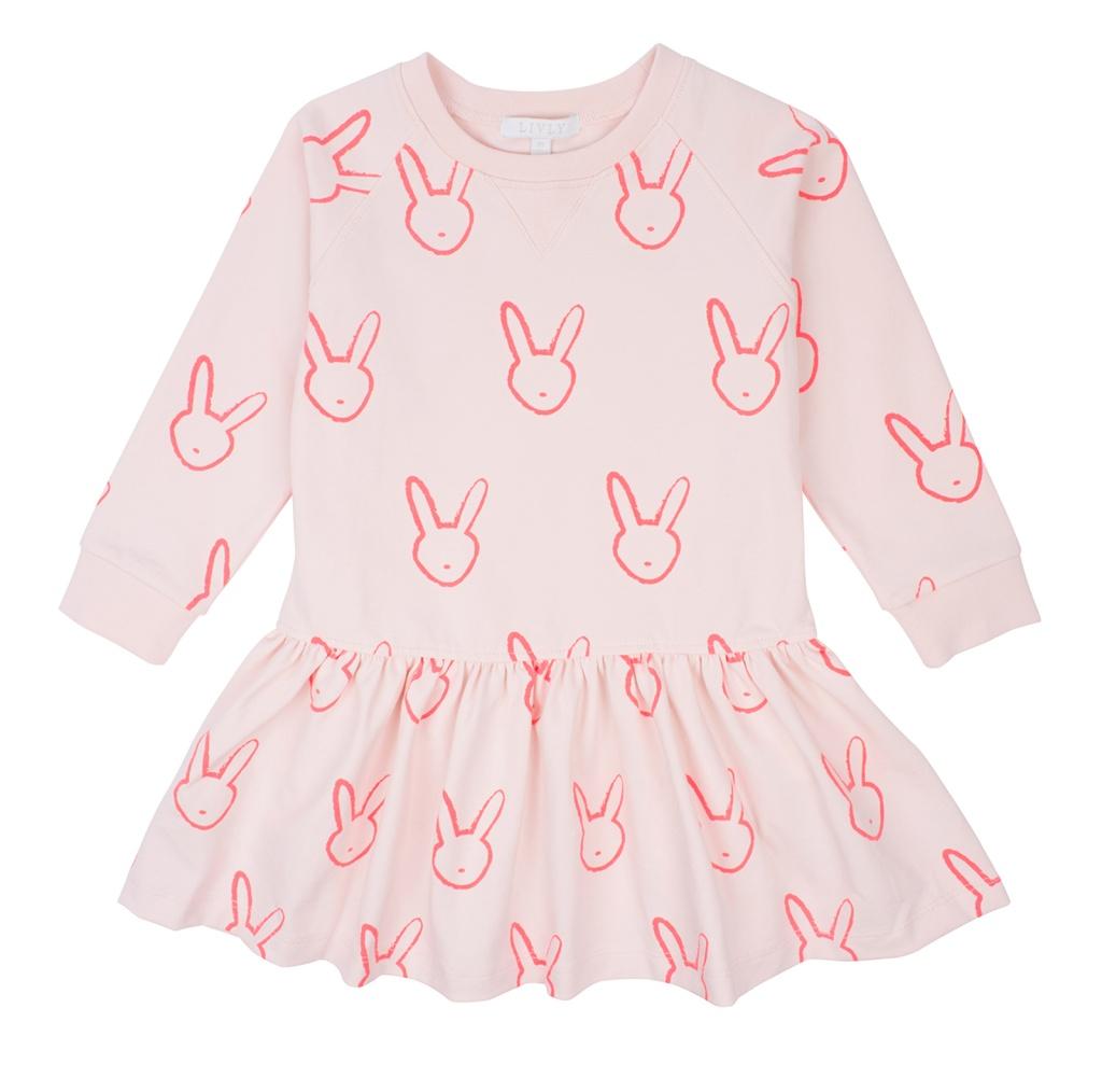 Klänning rosa med kaniner