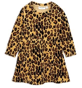 Klänning - Leopard velour beige