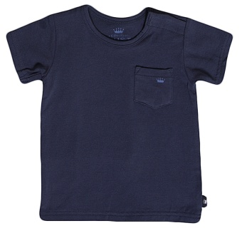 T-shirt blå med liten bröstficka