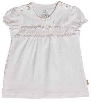 T-shirt med sydda veck, vit